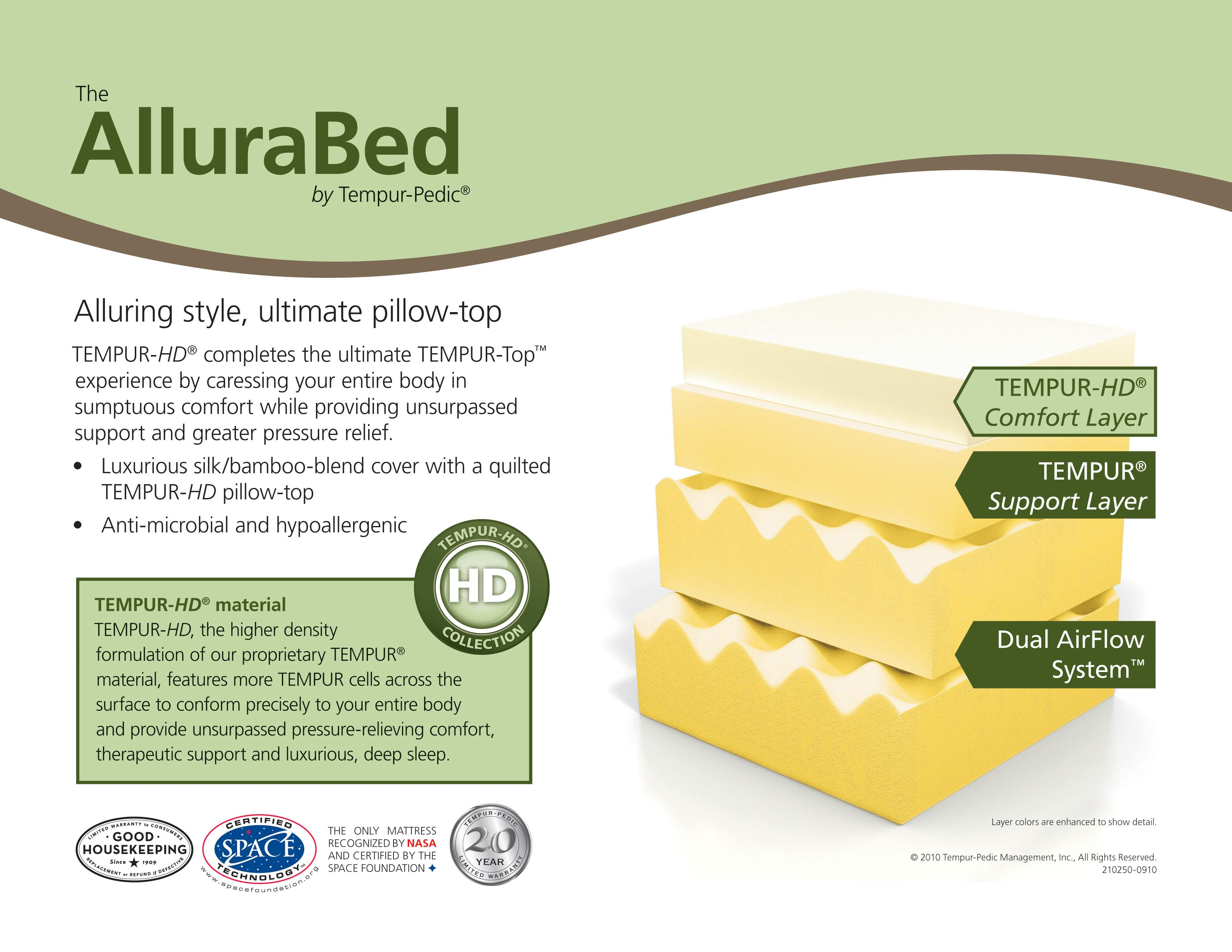 The AlluraBed by Tempur Pedic Mattresses
