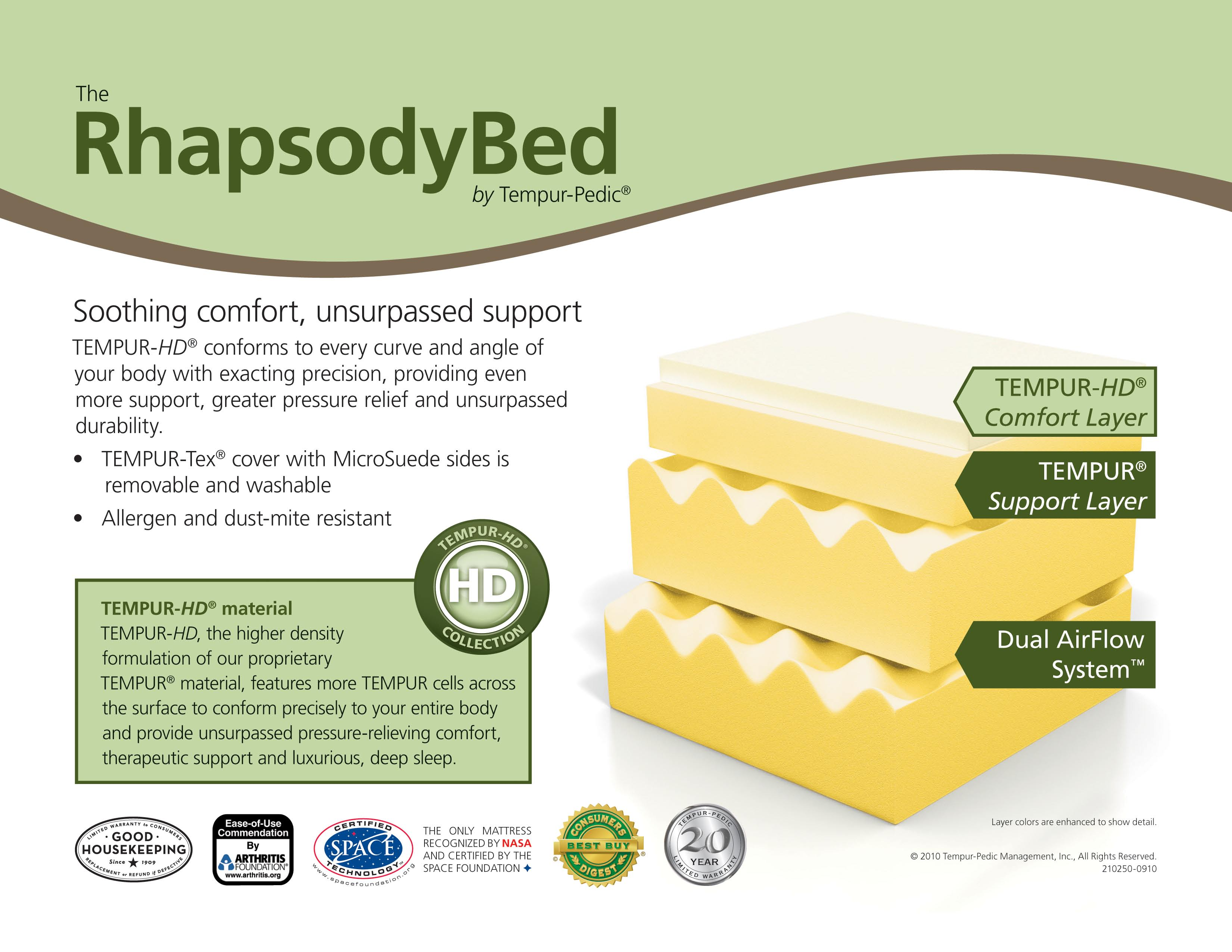 The RhapsodyBed by Tempur Pedic Mattresses