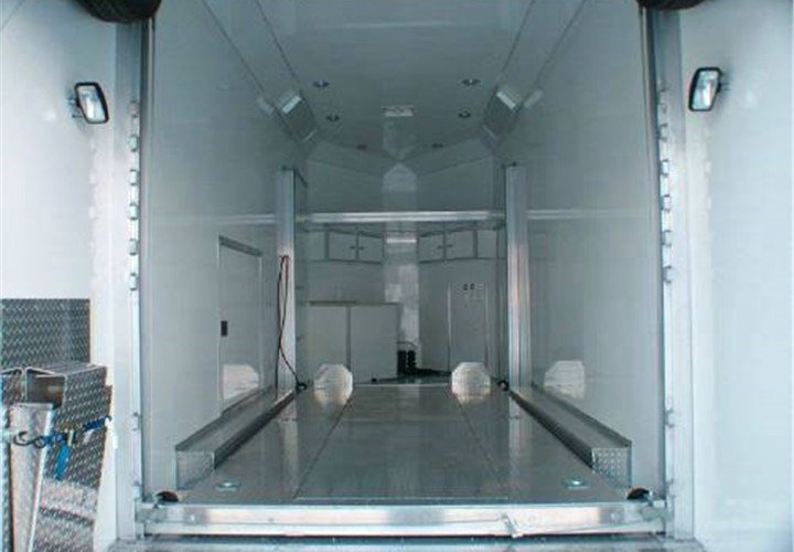 custom car hauler trailer interior