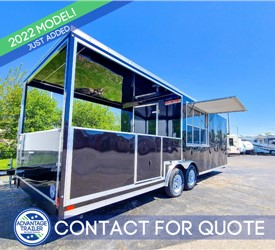 26' Black BBQ Trailer with 10' Covered Porch