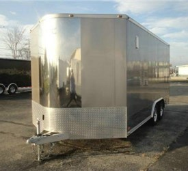 Enclosed Light Pewter Metallic 8.5' x 18' Aluminum Motorcycle Trailer with 2' Nose Wedge
