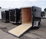 Enclosed Black 5' x 8' Cargo Trailer with 2' Nose Wedge