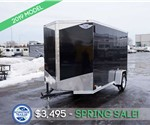 6'x12' Steel Black Cargo Trailer with Rear Ramp Door