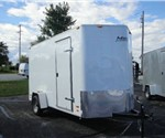 Enclosed White 6' X 14' Motiv Cargo Trailer with Wedge Nose