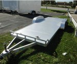 Open Gray 8.5' x 18' ATC Open Car Carrier with Stowable Rear Ramps
