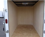 Enclosed Polar White 5' x 8' Cargo Trailer Built by the Aluminum Trailer Company