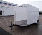6' x 12' White Cargo Trailer with Rear Ramp Door