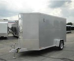 Enclosed Silver Frost 6' x 14' Aluminum Motorcycle Trailer with 2' Nose Wedge