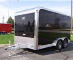 Enclosed Black 7.5' x 14' Aluminum Trailer Company Motorcycle / Living Quarters Trailer