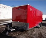 Enclosed Victory Red 7' x 16' Aluminum Trailer Company Landscaping Trailer