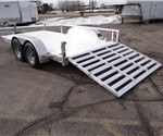 Open Aluminum 7' x 14' Utility Trailer by ATC with a Bi-Fold Ramp and Removable Sides