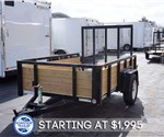 5' x 8' Tube Top Three Board Utility Trailer with Fold Flat Gate