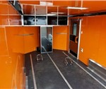Custom Wedge Nose Motorcycle Hauler with Premium Interior Wall Color