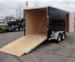 Enclosed Black 7' x 14' Aluminum Motorcycle Trailer with 2' Wedge