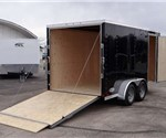 Enclosed Black 7' x 16' Cargo Trailer with 2' Nose Wedge