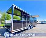 26' Black BBQ Trailer with 10' Covered Porch - Recent Example
