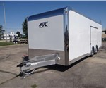 Enclosed White 8.5' x 24' Car Hauling Trailer with Escape Door built by ATC