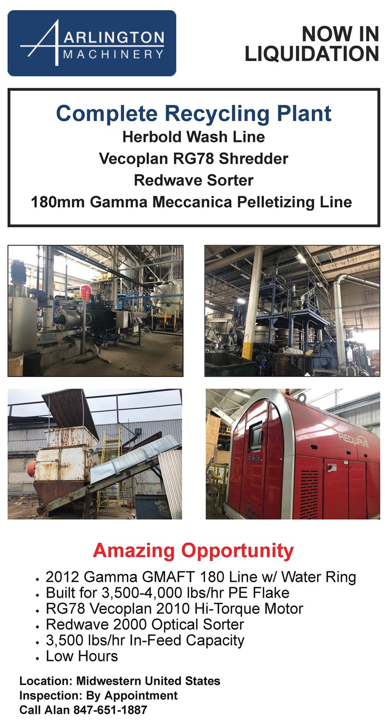 Complete Recycling Plant Herbold Wash Line Vecoplan RG78 Shredder Redwave Sorter 180mm Gamma Meccanica Pelletizing Line 2012 Gamma GMAFT 180 Line w/ Water Ring Built for 3,500-4,000 lbs/hr PE Flake RG78 Vecoplan 2010 Hi-Torque Motor Redwave 2000 Optical Sorter 3,500 lbs/hr In-Feed Capacity Low Hours Location: Midwestern United States Inspection: By Appointment