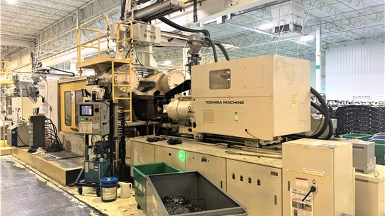 Used 1430 Ton Toshiba Injection Molding Machine, Model ISG1450DV21-110A, 213 Oz, New In 2003