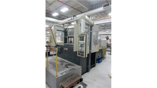 150 Ton Vertical Demag Rotary Injection Molding Machine, Model Ergotech1500-610, 9 oz, New in 2001