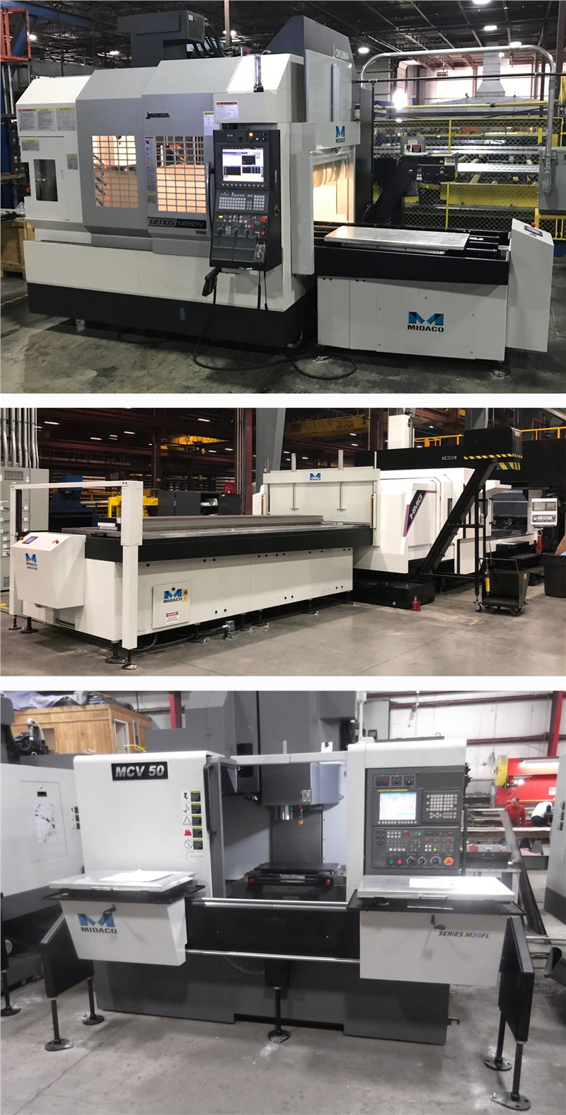3 images of automatic and manual pallet changes mounted on VMCs
