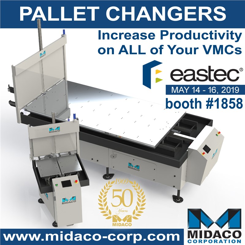 Midaco Pallet Changer shown with Eastec logo and booth number