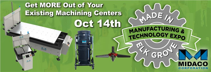 Green background web banner with Midaco Blue M logo and Pallet Changer machine with the Elk Grove Village Manufacturing Expo logo showing a grey machine gear