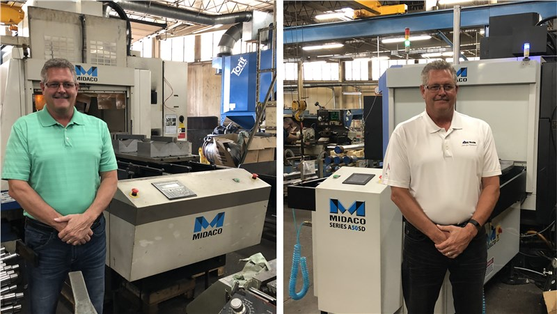 combo of two images of Mike Malget Standing next to his old Midaco Automatic Pallet Changer and with his new pallet changer