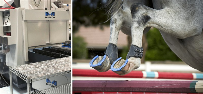One image of a Midaco pallet changer machine with a cart showing CNC milled aluminum horseshoes; 2nd picture showing hind legs of a running horse wearing the horseshoes