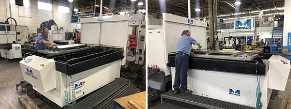 Operator changing parts on Midaco Automatic Pallet Changer attached to Vertical Machining Center