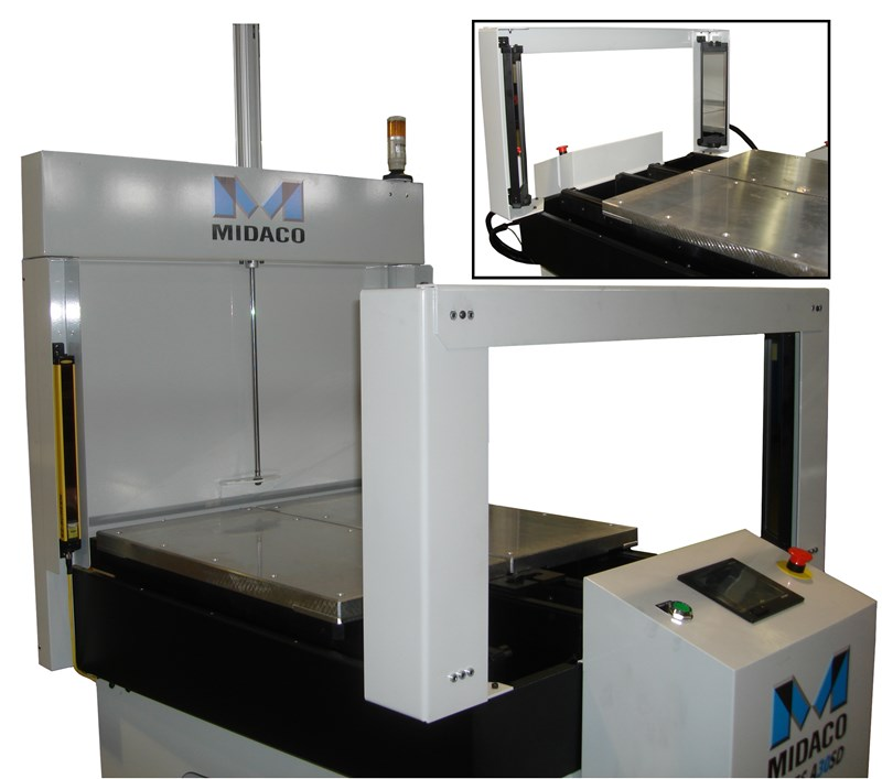Pallet Changer showing light curtain guarding option with mirrors and light emitters