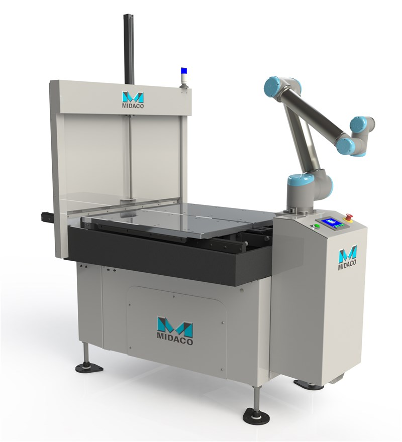Midaco Automatic Pallet Changer with Universal Robots UR10 robot arm