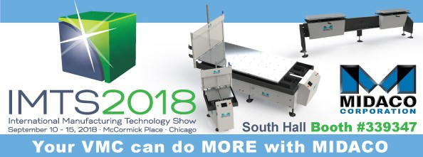 Midaco and IMTS2018 logo showing exhibit booth number