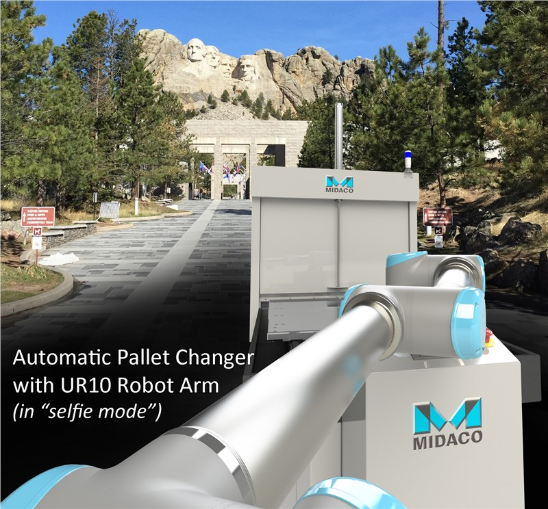 Midaco Pallet Changer with Robot Arm extended to take a selfie at Mr Rushmore
