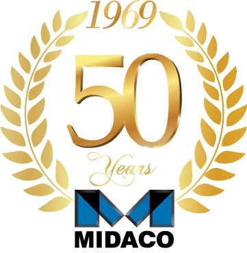Midaco gold and blue 50th anniversary emblem