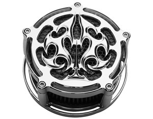 CNC milled alumninum air cleaner for motorcycles designed with ace of spades pattern