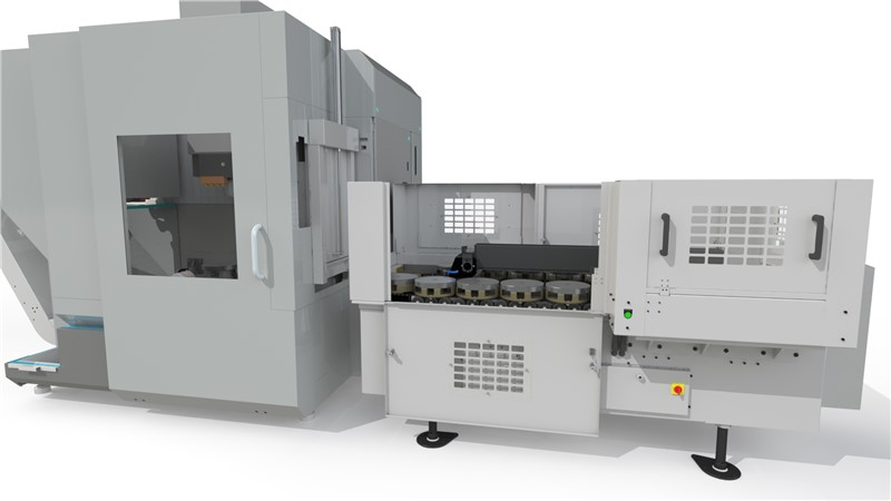 Large 5 axis machining center with pallet changer mounted on its right side