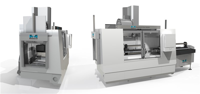 Render image of Machining Center on left with Robot Access Door and Render image on right of Machining Center with CNC AutoDoor