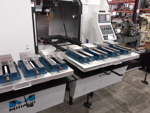 Midaco manual Pallet Changer with extended bridge on VMC in machine shop