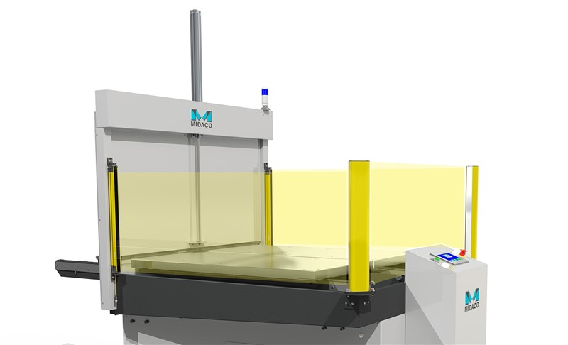 Midaco Automatic Pallet Changer render showing light beams of CE light Curtain