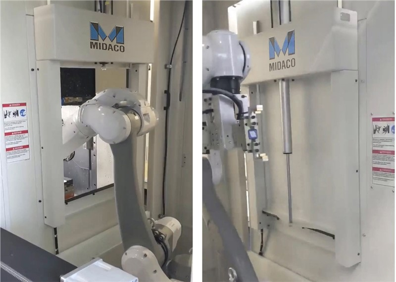 Midaco Industrial Robot Cobot CNC Access Door with robot arm loading and unloading parts into VMC