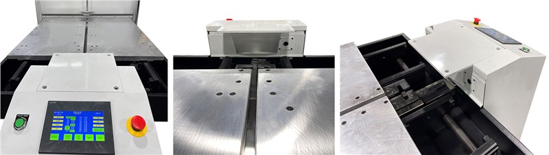 3 images showing front, back and angle of pallet changer shuttle control panel with robot cobot mounting platform