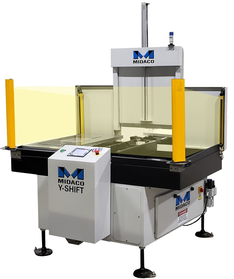 Midaco Y-Axis Shift Automatic Pallet Changer showing CE Light Curtain beams indicated in yellow