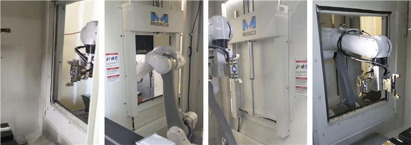 Sequence of 4 images showing a robot arm loading parts between 2 CNC machining centers through Midaco Robot Cobot Access Doors on the side panels