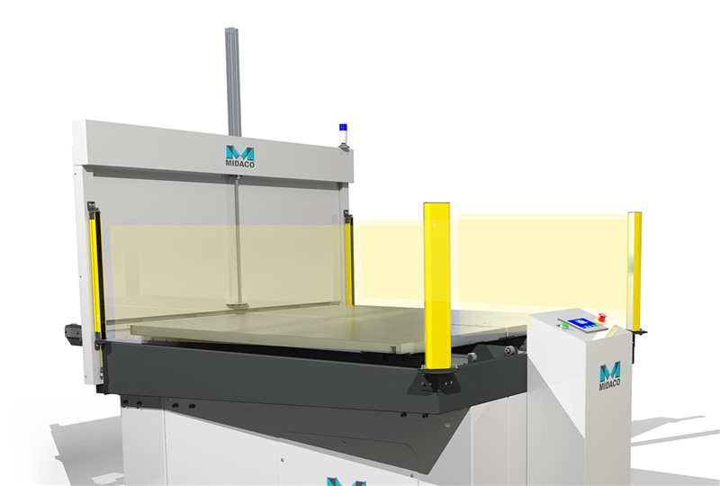 Midaco Pallet Changer render sowing yellow posts at each corner of machine indication light curtain sensors