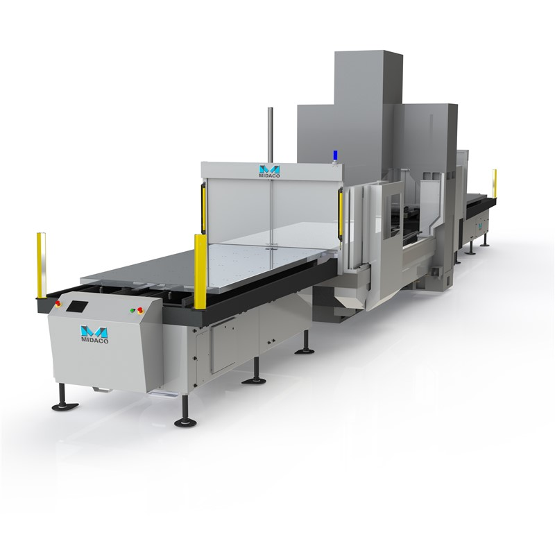Midaco Single Dual Pallet Changer with CE Light Curtain mounted on both sides of a large vertical machining center