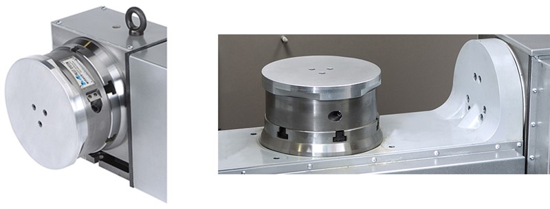 8 inch round aluminum manual rotary pallet changer on 4 axis rotary indexer and trunnion
