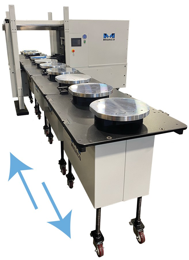 Midaco Pallet Changer with 10 round aluminum pallets loaded onto carts