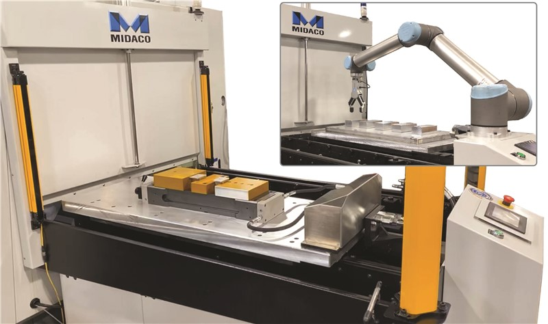 Midaco Hydraulic Docking System attached to yellow vices on an aluminum rectangle pallet on the surface of an Automatic Pallet Changer. Upper right shows a detail image of Automatic Pallet Changer with Cobot robot arm moving parts on the pallet.