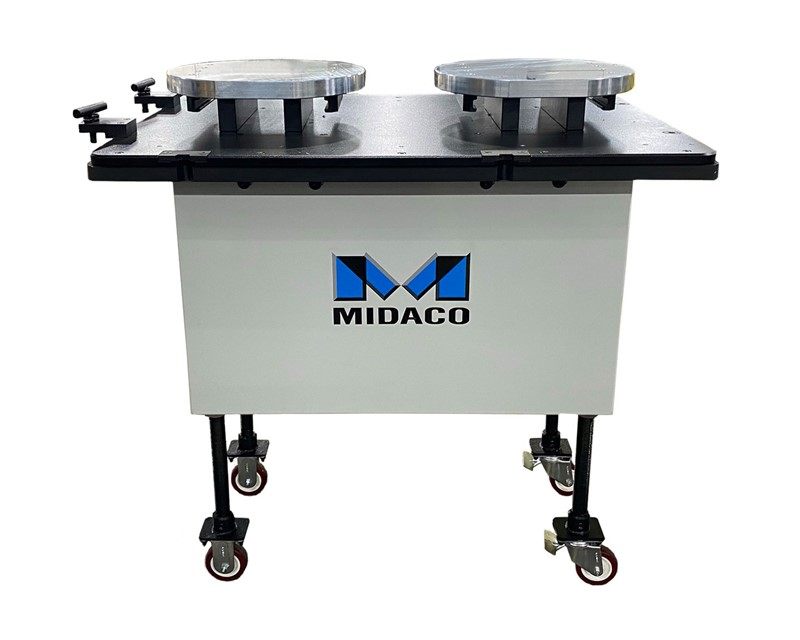 Midaco Pallet Cart front view with blue M logo on middle of rectangular shaped grey cart with 4 legs on casters, black top woth 2 round aluminum pallets set side by side on white background